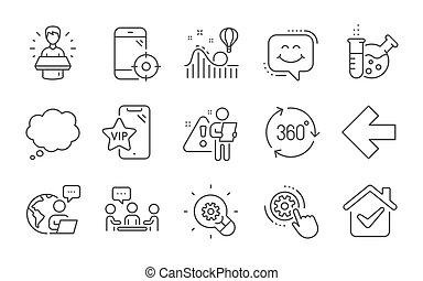 icônes, 360, marque, paramètres, ambassadeur, roue dentée, ...