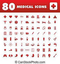 icônes, 80, monde médical