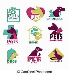 icônes, abri, chien, isolé, clinique, animaux familiers, chat