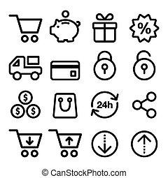 icônes, achats, ensemble, magasin, ligne