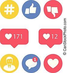 icônes, activité, -, smm, actions, goûts, social, promotion