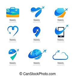 icônes, agence, voyage, symboles, logo, tourisme, conception