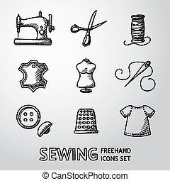 icônes, aiguille, machine, mannequin, dé, handdrawn, -, fabric., ensemble, vecteur, couture, étiquette, cuir, fil, boutons, ciseaux