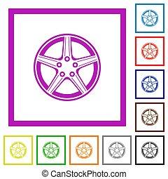icônes, alliage, plat, encadré, roue