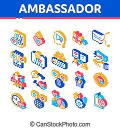 icônes, ambassadeur, créatif, isométrique, vecteur, ensemble