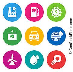 icônes, ambiant, couleur