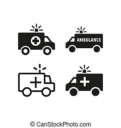 icônes, ambulance, blanc, arrière-plan.