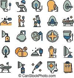 icônes, anesthésie, ensemble, vecteur, plat