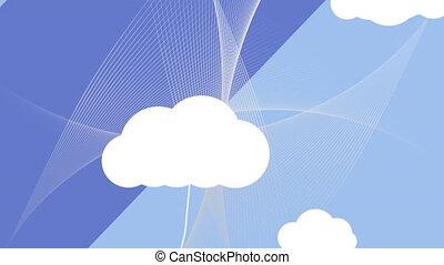 icônes, animation, réseaux, nuages