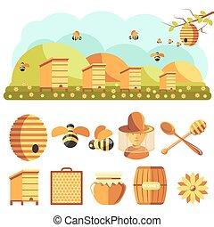 icônes, apiculture, miel, set:, abeille