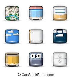 icônes, app, ensemble, vecteur, 3d