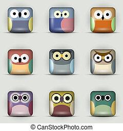 icônes, app, hiboux, ensemble, vecteur