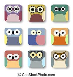 icônes, app, hiboux, mignon, ensemble, vecteur