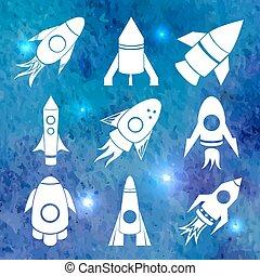 icônes, aquarelle, vecteur, fusées, fond, blanc