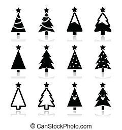 icônes, arbre, ensemble, noël, vecteur