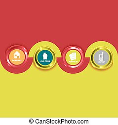 icônes, arrière-plan coloré, vecteur, compagnie