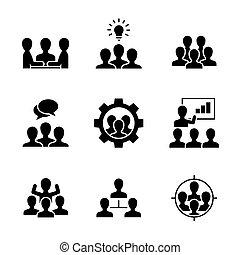 icônes, arrière-plan noir, blanc, travail équipe