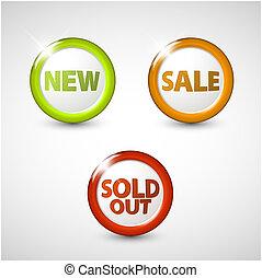 icônes, articles, vendu, vente, vecteur, nouveau, 3d, rond, dehors