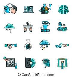 icônes, artificiel, ensemble, intelligence, ligne