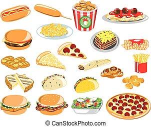 icônes, assorti, restauration rapide
