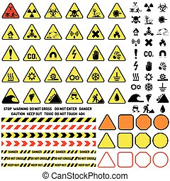 icônes, attention, signe, symbole information, point d'exclamation, notification, vector., avertissement, danger