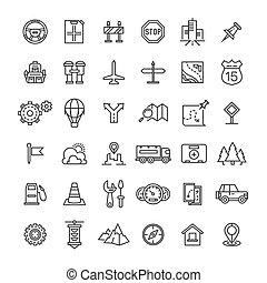 icônes, auto, voyage, collection, ligne mince