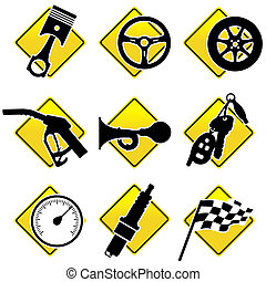 icônes, automobile, -, trois, partie, courses