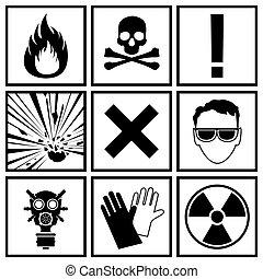 icônes, avertissement, danger