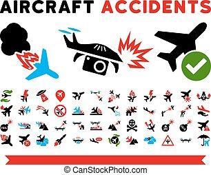 icônes, avion, vecteur, accidents