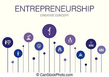 icônes, bâtiment, association, template., équipe, entrepreneurship, infographic, investisseur, étapes, 10, direction