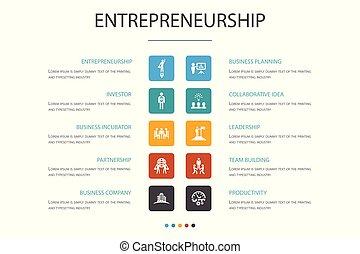 icônes, bâtiment, association, template., option, équipe, entrepreneurship, infographic, investisseur, 10, direction