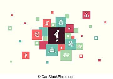 icônes, bâtiment, bulle, 10, association, équipe, entrepreneurship, infographic, investisseur, étapes, design., direction