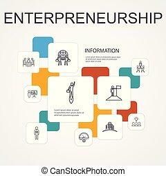 icônes, bâtiment, ligne, association, template., équipe, entrepreneurship, infographic, investisseur, 10, direction
