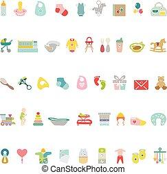 icônes, bébé, ensemble