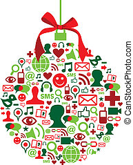 icônes, babiole, social, noël, média