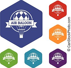 icônes, balloon, air, vecteur, amusement, hexahedron