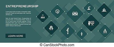 icônes, bannière, bâtiment, association, concept., équipe, entrepreneurship, investisseur, 10, direction