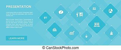 icônes, bannière, diagramme, topic, présentation affaires, conférencier, concept., présentation, 10