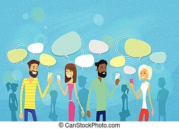 icônes, bavarder, gens, réseau, communication, social, groupe