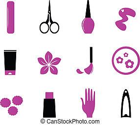 icônes, beauté, produits de beauté, (, isoler, blanc, manucure, bl, rose