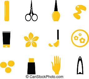 icônes, beauté, produits de beauté, orange, (, isoler, manucure, blanc