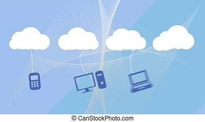 icônes, blanc, animation, nuages