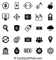 icônes, blanc, bitcoin, fond