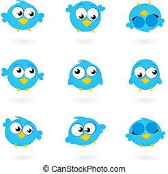 icônes, bleu, gazouillement, mignon, oiseaux, isolé, brin, vecteur, collection