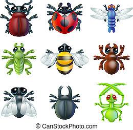 icônes, bogue, insecte