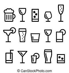 icônes, boisson, alcool, ligne, boisson