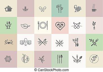 icônes, boisson, ensemble, nourriture