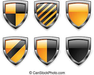 icônes, bouclier, sécurité