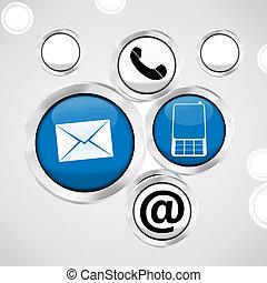 icônes, bouton, nous, contact, conception, fond, frais