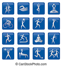 icônes, boutons, sport, fitness